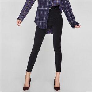Zara premium asphalt black slim skinny velvet pant